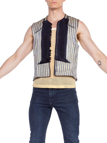 1940'S Antique Eastern European Hand Embroidered Silk Folk Vest