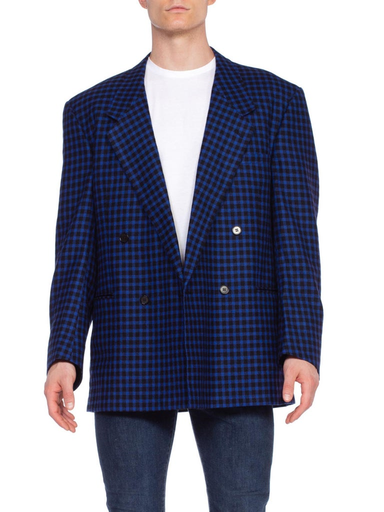 1990'S GIANNI VERSACE Black & Cobalt Blue Wool Cashmere Plaid Check DB Blazer Size 42