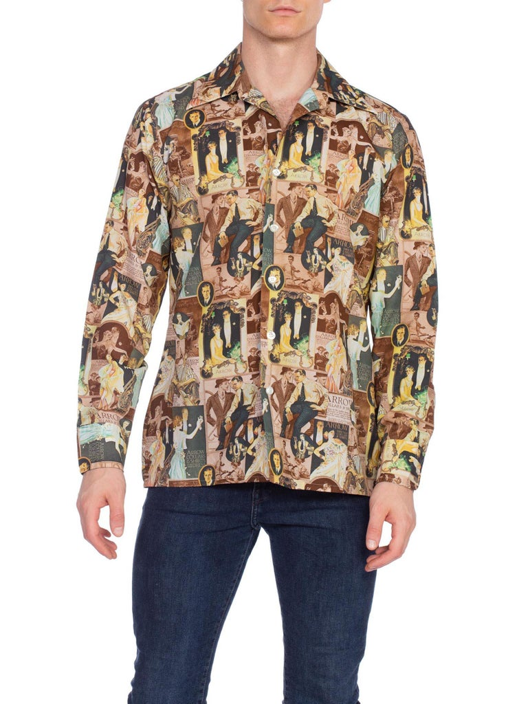 1970S Men's JC Leyendecker 1920'S Art Deco Print Disco Shirt