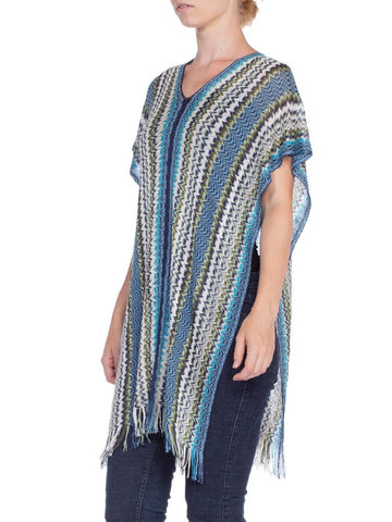 2000S Missoni Blue & Green Rayon Cotton Knit 5 Way Poncho Scarf Top