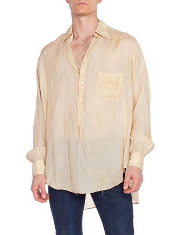 1920S Cream Silk Rare Men's French Pullover Shirt With Glass Buttons
