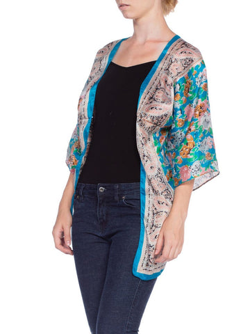MORPHEW COLLECTION Blue & Green Hand Printed Silk Mini Kimono Jacket