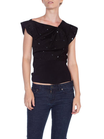 1930'S Black Silk Jacquard Asymmetrically Draped Evening Top With Sequin Beading