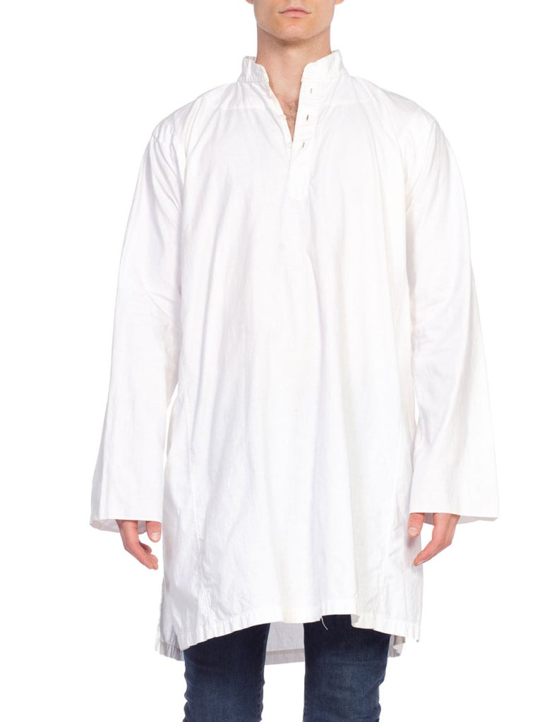 Mens North African Victorian Style White Cotton Tulle Shirt