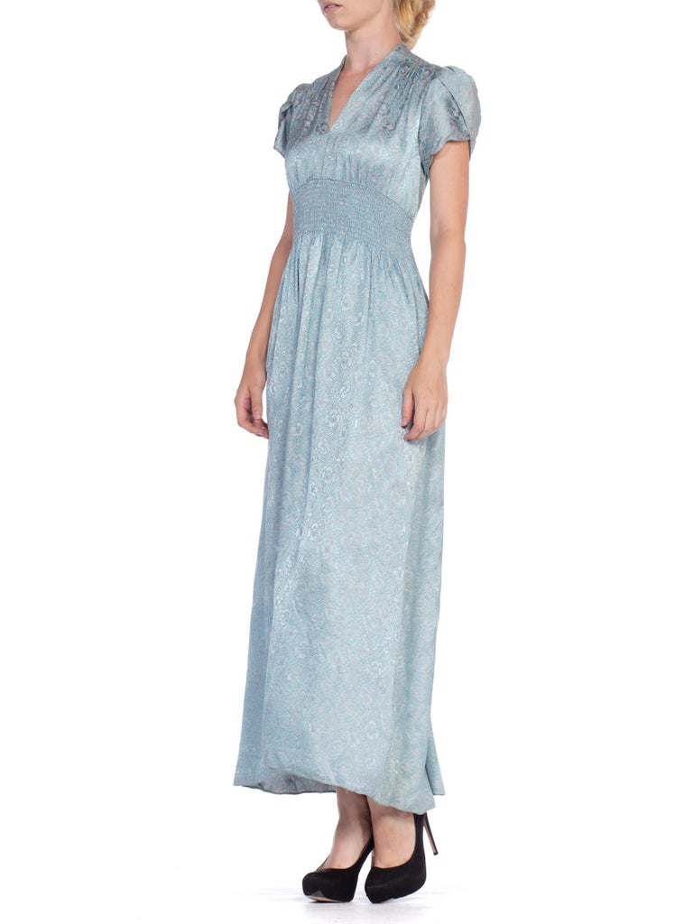 1940'S Baby Blue & Pink Rayon Jacquard Floral Negligee Slip Dress