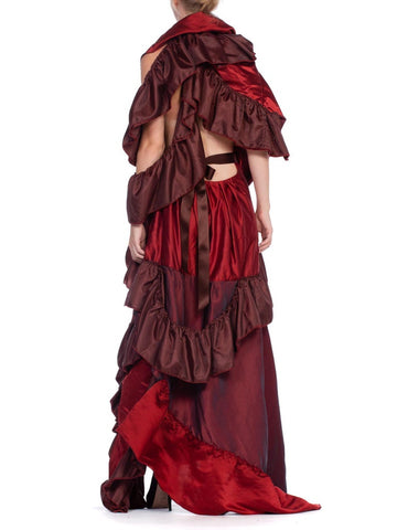 1970'S Morphew Collection Dramatic Silk & Rayon Red Backless Ruffle Gown