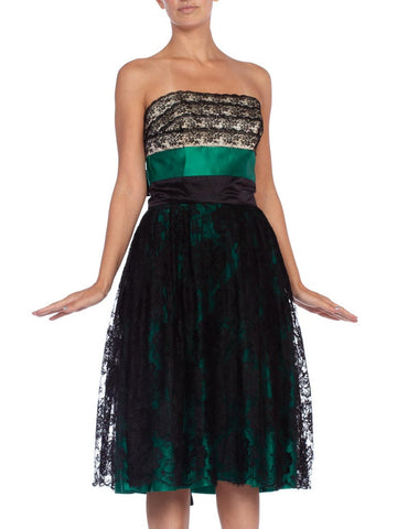 1950's Couture Emberald Green Silk Satin & Black Lace Strapless Cocktail Dress