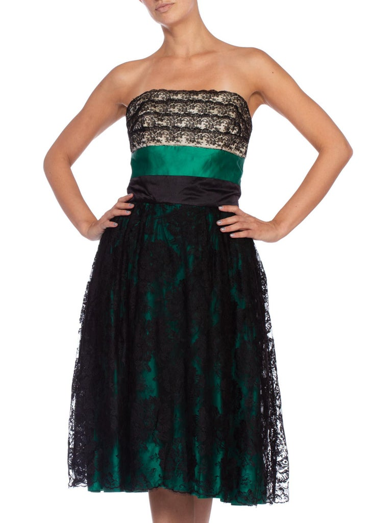 1950'S Kelly Green & Black Silk Duchess Satin Chantilly Lace Strapless Cocktail Dress