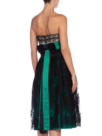 1950'S Couture Emerald Green Silk Satin & Black Lace Strapless Cocktail Dress