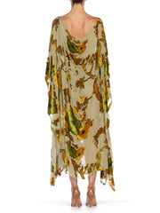 Morphew Collection Peacock Kaftan Made From Sheer Burnout Velvet