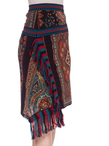 1990'S JEAN PAUL GAULTIER JPG Tribal Rug Patchwork Mesh Skirt
