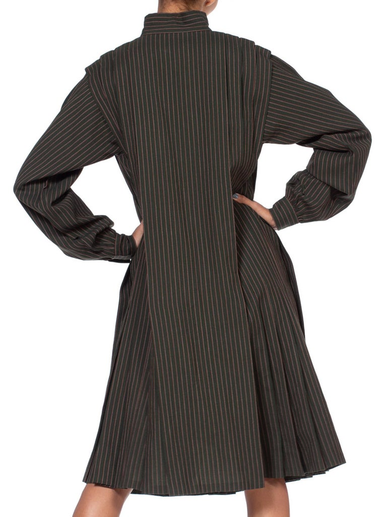 1980'S Gucci Dark Green Striped Wool Oversized Button Front Dress