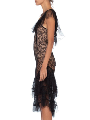 1930'S Morphew Collection Black Lace Dress