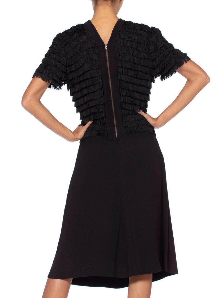 1940S Black Rayon & Silk Crepe Zipper Front Fringed Bodice Cocktail Dress