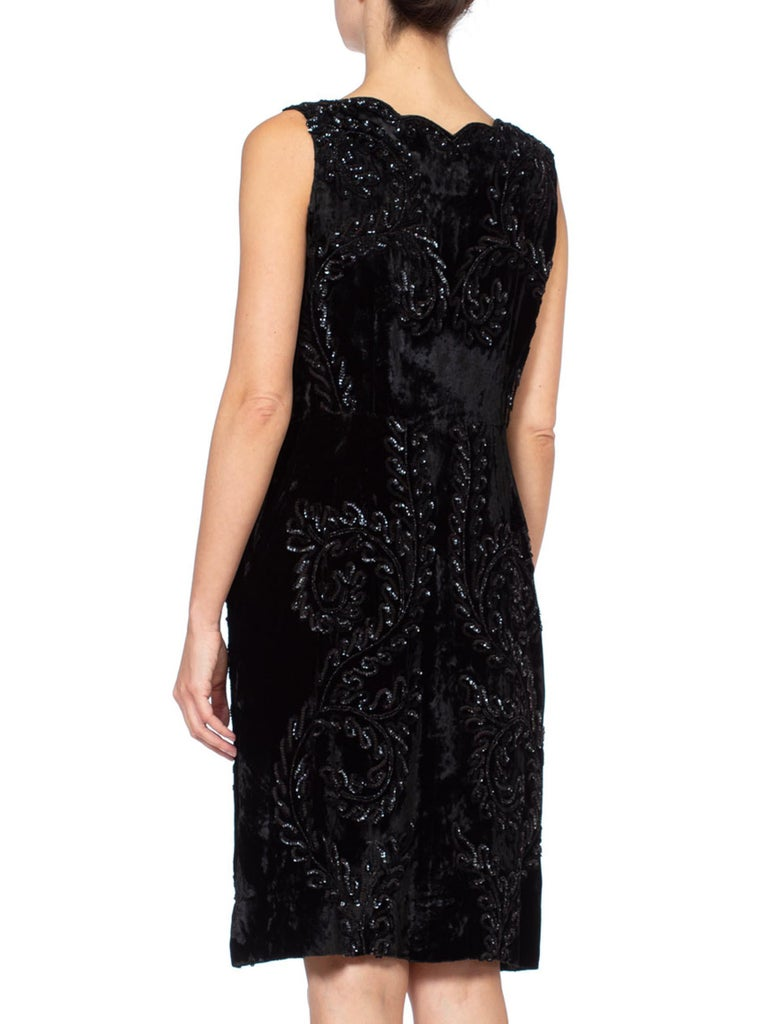 1950S Black Rayon Blend Velvet Sequin Beaded Cocktail Dress