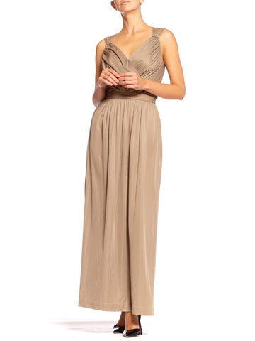 1970'S Ecru Polyester Jersey Backless Draped Disco Gown