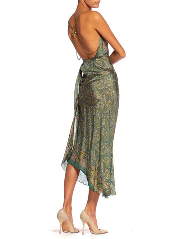 Morphew Collection Bias Backless Indian Print Dress With Edwardian Metallic