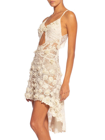 Morphew Collection Victorian Irish Crochet Hand Made Lace Dress