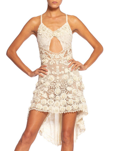 Morphew Collection Backless Hand-Made Victorian Irish Crochet Lace Mini Dress