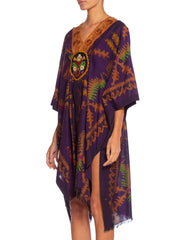 Morphew Collection Kaftan Made From Handwoven Silk & Cotton Ikat With Victorian