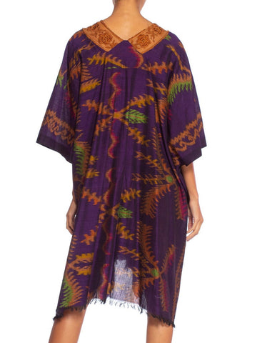 Morphew Collection Purple & Brown Silk Ikat Kaftan Handmade With Victorian Lace Collar