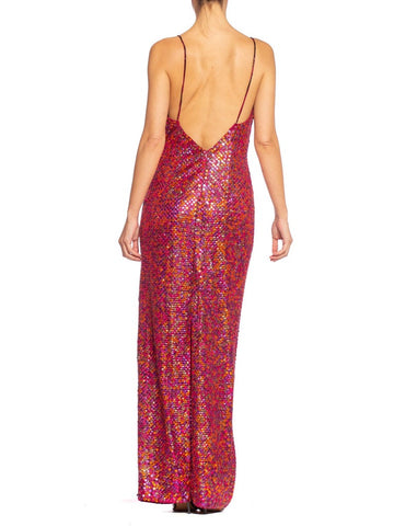 1990'S Cranberry Red Hand Beaded Polyester Jersey Disco Purple Pink & Orange Sequined Gown