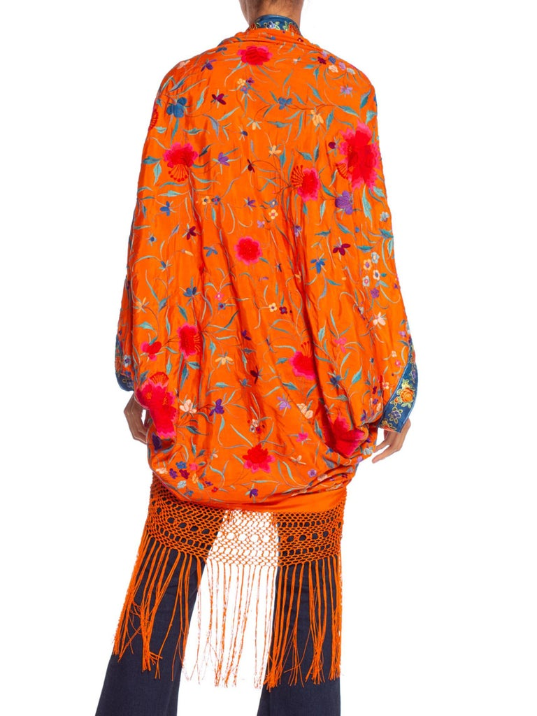 MORPHEW COLLECTION Orange Hand Embroidered Silk Piano Shawl Cocoon With Fringe & 1970'S Ribbon Trim