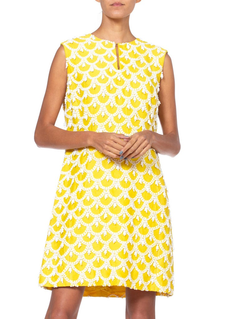 1960'S Yellow Hand Beaded Silk Radzimir Mod Cocktail Dress