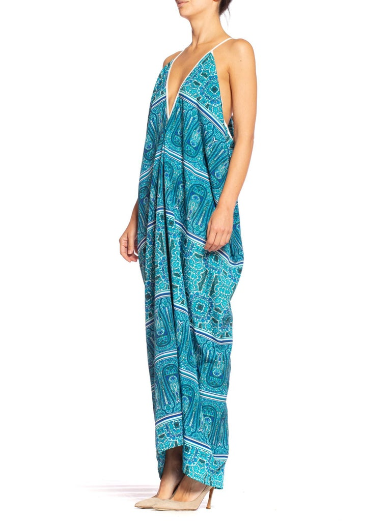 MORPHEW COLLECTION Teal Paisley Poly Blend Easy Breezy Everbody Maxi Dress Made From Deadstock Fabric