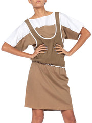 1980'S Khaki & White Cotton Italian Sport Mesh Dress