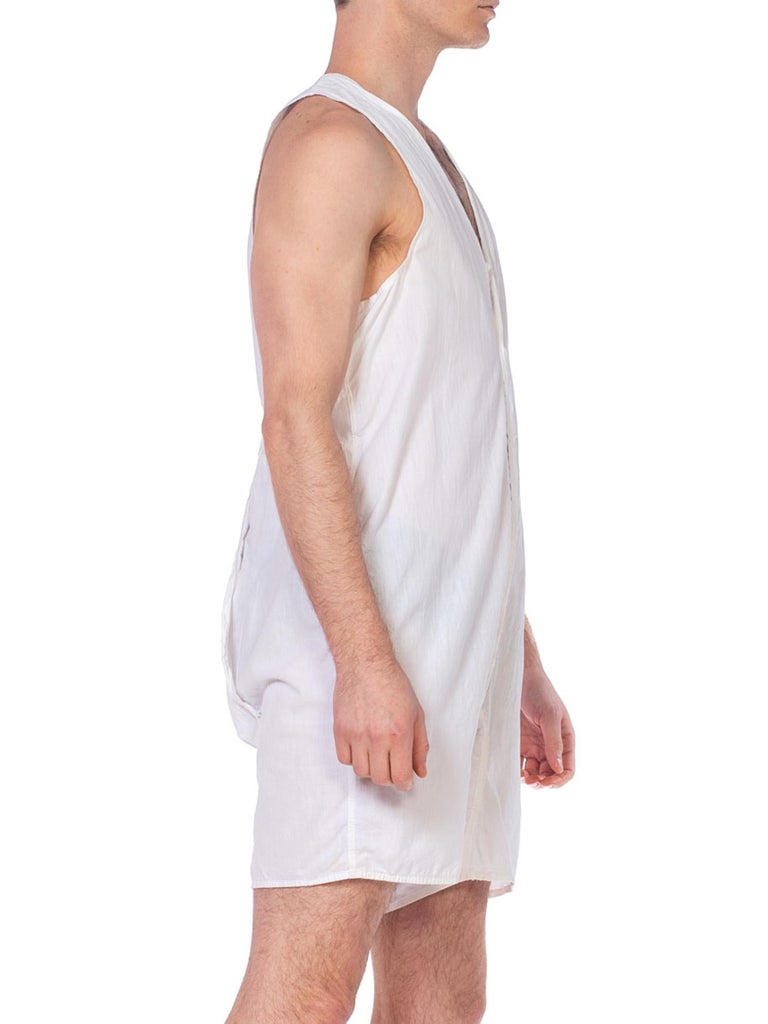 1920S White Organic Cotton Men's One Piece Union Suit Underwear / Pajamas