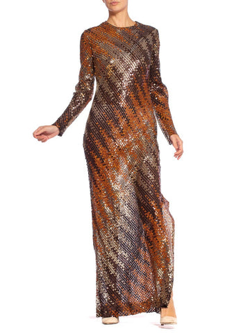 1970's Bias Cut Ombre Sequin Gold Disco Gown