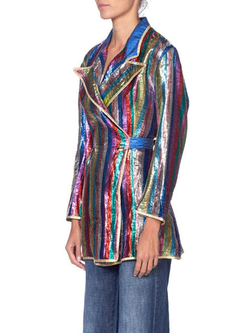 1970's Rainbow Stripe Gold Lurex Peak Lapel Blazer From Italy