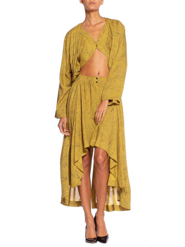 1980'S Azzedine Alaia Yellow Animal Print Cotton Oversized Dress With Faux Bra-Top And Wrap Jacket