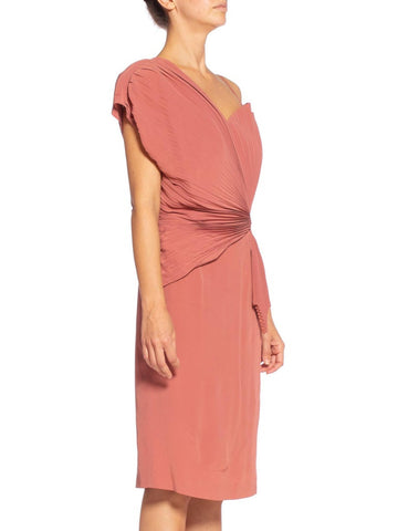 1980'S TERESA CREOLA Dusty Rose Silk Blend Crepe De Chine Pleated One Sleeve Cocktail Dress