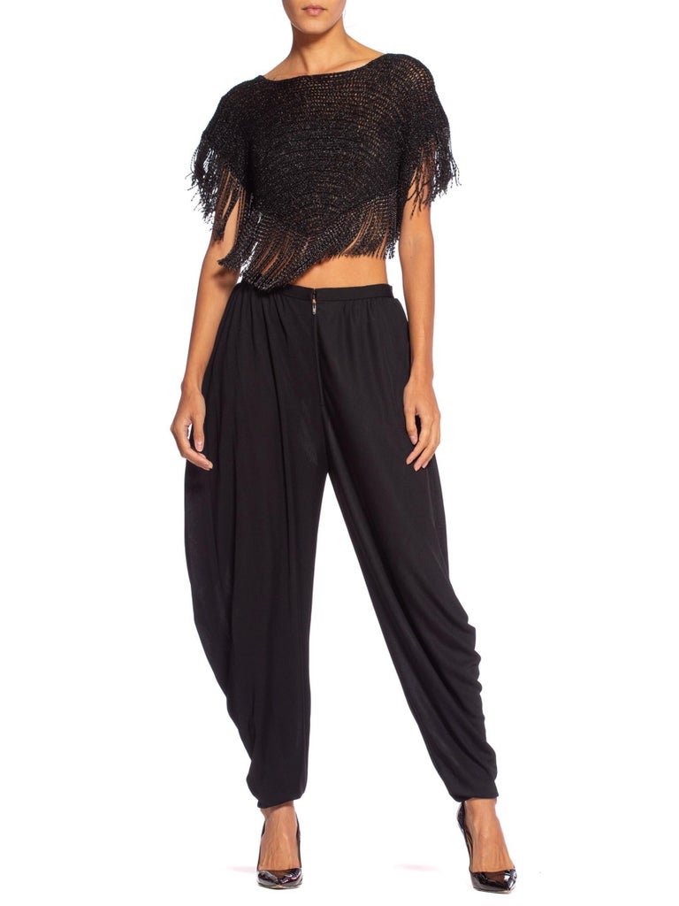 1970'S LORIS AZZARO Couture Silk Jersey Crop Top & Pants Ensemble With Chain Fringe