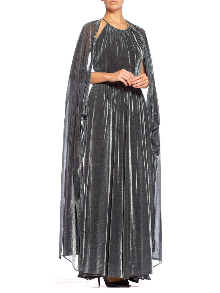 1970'S Slinky Lurex Disco Gown With Attached Cape & Crystal Belt