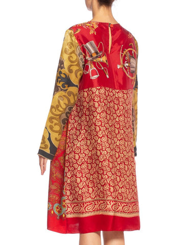 MORPHEW COLLECTION Rayon & Silk Tunic Dress Made From Vintage Equestrian Scarves