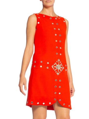 1960'S AZZARO Coral Red Haute Couture Wool Crepe Mod Cocktail Dress With Antique Mirror Gems