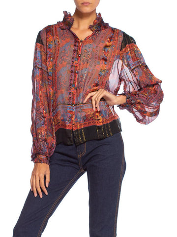 1970's Sheer Silk Chiffon Neiman Marcus Blouse With Lurex