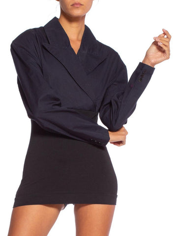 1990'S Plein SUD Black Cotton Micro Mini Blazer Romper Dress
