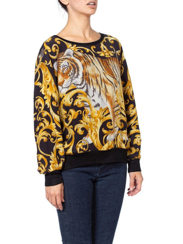 1990's Salvatore Ferragamo Oversized Baroque Tiger Silk Top