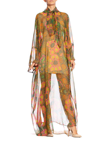 1960S Multicolor Psychedelic Poly Blend Chiffon Sheer Mod Lava Lamp Print Bow Neck Kaftan