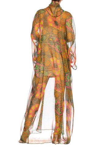 1970S Green & Orange Psychedelic Polyester Chiffon Sheer Mod Lava Lamp Print Scarf Neck Kaftan
