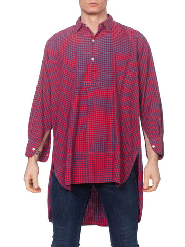 1900S Red & Blue Organic Cotton Men's Plaid Tunic Workwear Shirt From Paris