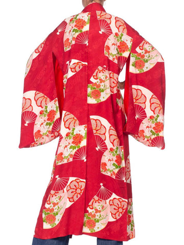 1950'S Cranberry Red Japanese Silk Fan Print Kimono