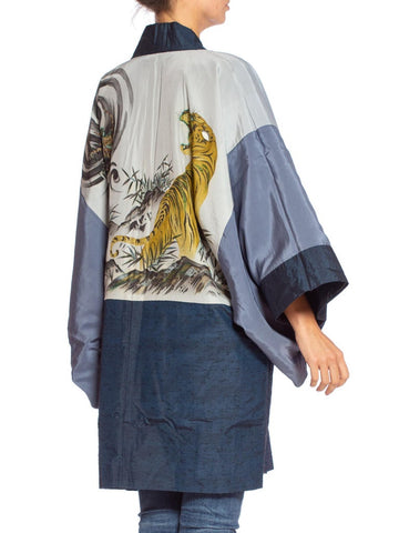 1950'S Crouching Tiger Hidden Dragon Hand Painted Japanese Kimono