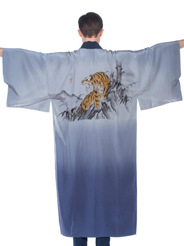 Mens Blue Japanese Kimono With Hand Painted Tiger