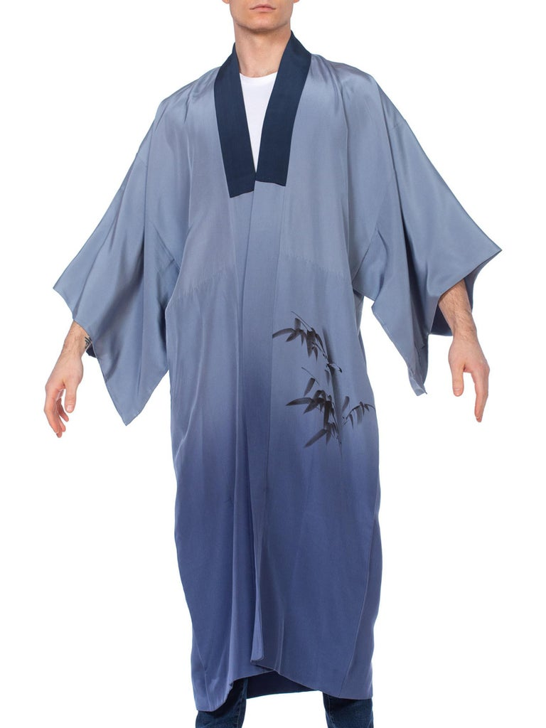 1950'S Mens Blue Japanese With Hand Painted Tiger Kimono