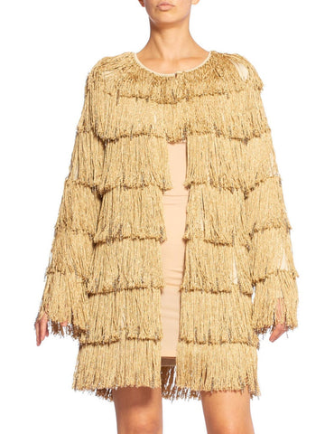 Loris Azzaro Gold Lurex Fringe Jacket With Swarovski Crystals